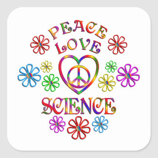 Peace Love Science Square Sticker