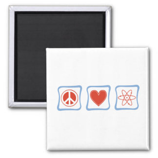 Peace Love Scientists Squares 2 Inch Square Magnet