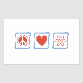 Peace Love Scientists Squares Rectangular Sticker