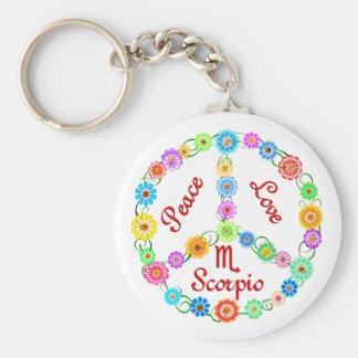Peace Love Scorpio Basic Round Button Keychain