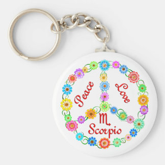 Peace Love Scorpio Keychain