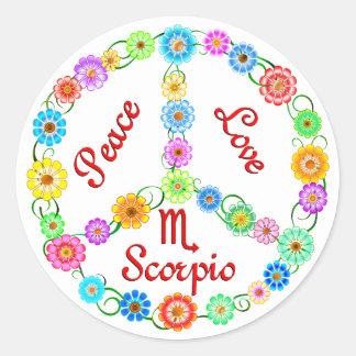 Peace Love Scorpio Classic Round Sticker