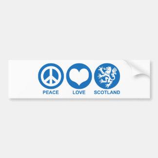 Peace Love Scotland Car Bumper Sticker
