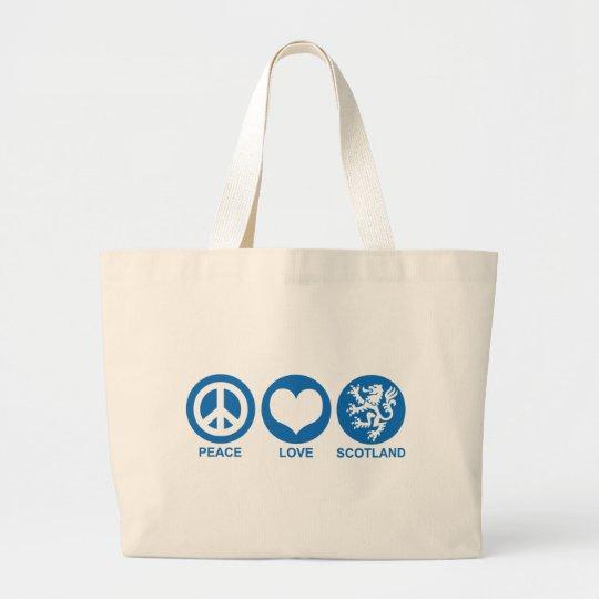 Peace Love Scotland Large Tote Bag