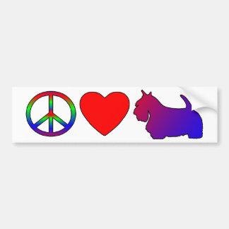 Peace Love Scotties Bumper Sticker Car Bumper Sticker