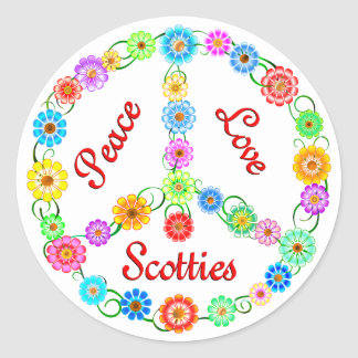 Peace Love Scotties Classic Round Sticker