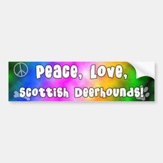 Peace Love Scottish Deerhounds Bumper Sticker Car Bumper Sticker