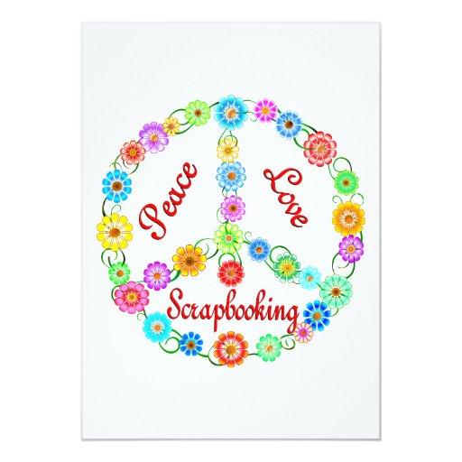 "Peace Love Scrapbooking 5"" X 7"" Invitation Card"