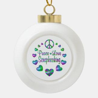 Peace Love Scrapbooking Ceramic Ball Christmas Ornament