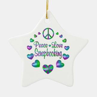 Peace Love Scrapbooking Ceramic Ornament