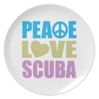 Peace Love Scuba Dinner Plate