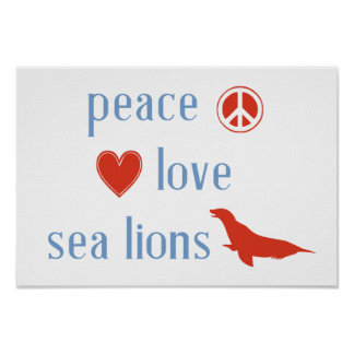 Peace Love Sea Lions Poster