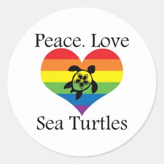 Peace. Love. Sea turtles Classic Round Sticker