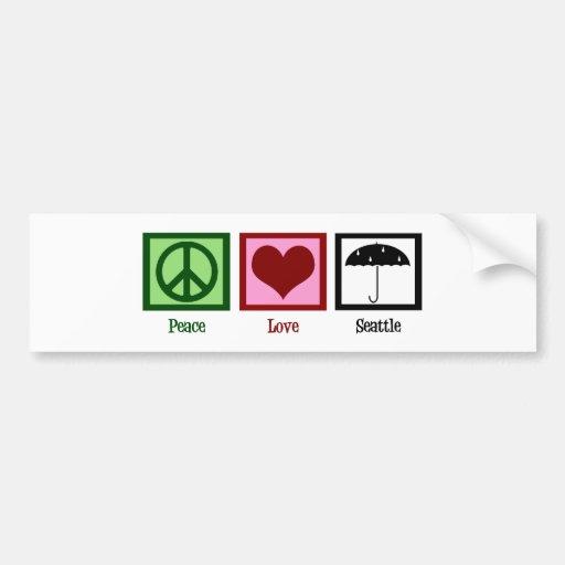 Peace Love Seattle Car Bumper Sticker