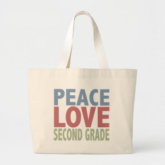 Peace Love Second Grade Large Tote Bag