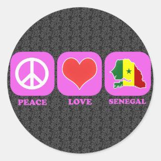 Peace Love Senegal Round Sticker