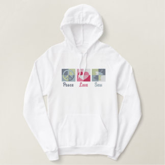 Peace Love Sew Embroidered Hoodie