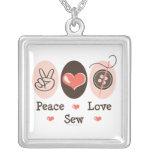Peace Love Sew Necklace