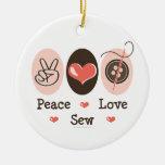 Peace Love Sew Ornament