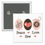 Peace Love Sew Sewing Button