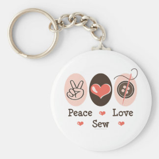 Peace Love Sew Sewing Keychain
