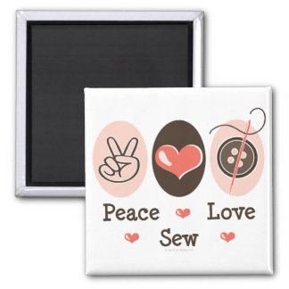 Peace Love Sew Sewing Magnet