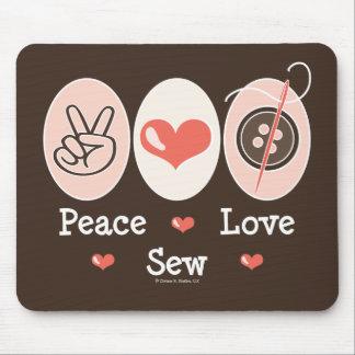 Peace Love Sew Sewing Mousepad