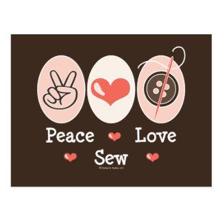Peace Love Sew Sewing Postcard