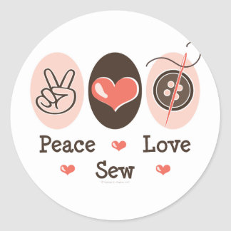 Peace Love Sew Sewing Stickers