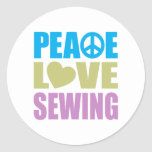 Peace Love Sewing Classic Round Sticker