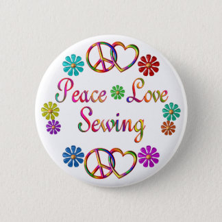 PEACE LOVE SEWING PINBACK BUTTON