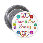 PEACE LOVE SEWING PINBACK BUTTONS