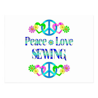 Peace Love Sewing Postcard