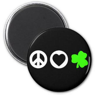 Peace Love Shamrock 2 Inch Round Magnet