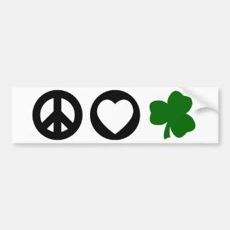 Peace Love Shamrock Bumper Sticker