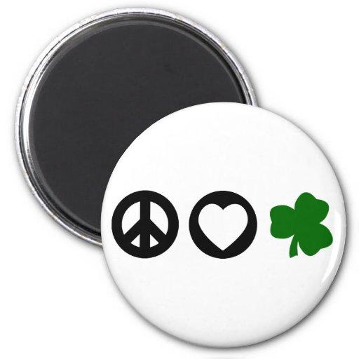 Peace Love Shamrock Fridge Magnets