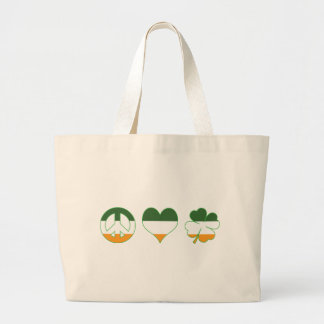 Peace Love Shamrock Large Tote Bag