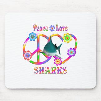 Peace Love Sharks Mouse Pad