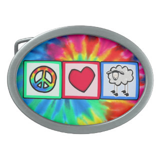Peace, Love, Sheep Belt Buckles