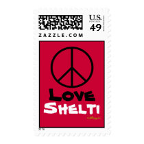 Peace Love Shelti Red Postage Stamps