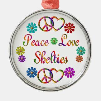 PEACE LOVE SHELTIES ROUND METAL CHRISTMAS ORNAMENT