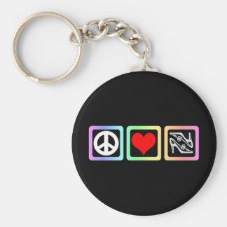 Peace love shoes key chain