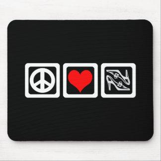 Peace love shoes mouse pad