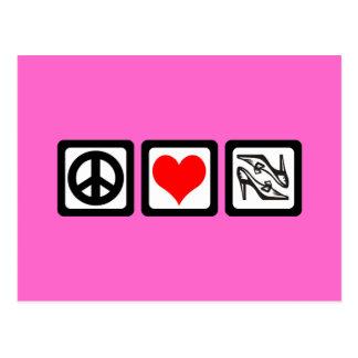Peace love shoes postcard