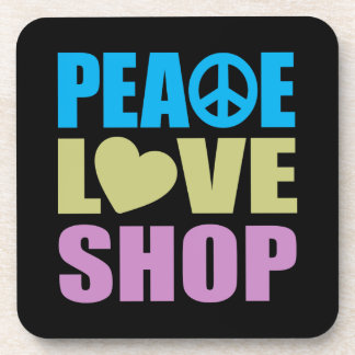 Peace Love Shop Beverage Coaster