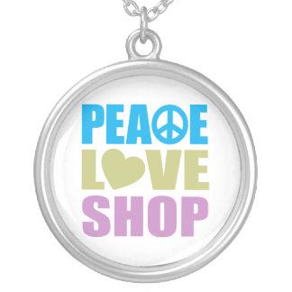 Peace Love Shop Round Pendant Necklace