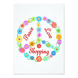 Peace Love Shopping 5x7 Paper Invitation Card