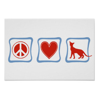 Peace Love Siamese Cats squares Poster