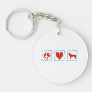Peace Love Siberian Huskies Squares Keychain