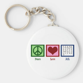 Peace Love Sign Language Basic Round Button Keychain